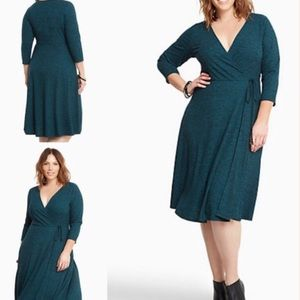 New Dark Green Torrid Faux Wrap Dress